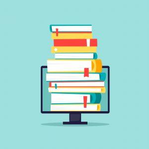 beeldscherm met boeken die eruit komen
